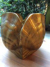 Vtg heavy solid brass seashell pot planter vase ocean beach shack seafood clam