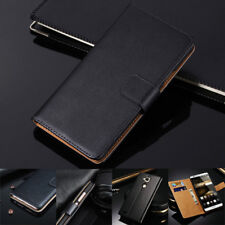 Genuine Leather Luxury Wallet Flip Black Case Cover For Huawei Mobile phone