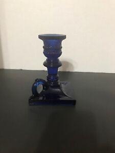 Smithsonian Institute Sandwich Glass Cobalt Blue Finger Candlestick