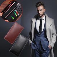 Men's Business Leather Bifold Long Wallet Cash Pocket Card Holder Clutch Purse