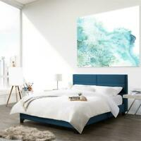 CorLiving Ocean Blue Fabric Wide-Rectangle Panel Bed Frame - Queen