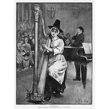 SWANSEA A Harp Soloist at The Eisteddfod Festival - Antique Print 1891