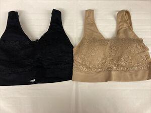 Black And Biege Soft Padded  Comfort Bras Size M