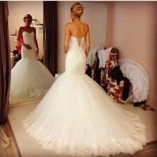 New White/Ivory Mermaid Wedding Dress Bridal Gown Custom Size: 6-8-10-12-14-16++