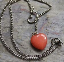 925 Silver plt Necklace & Peach Jade Heart Pendant, Reiki Healing Ladies Gift