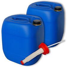 2 Stück Trinkwasserkanister blau 30 Liter Deckel aus Plastik Ausgießer flexibel