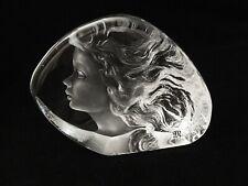 Mats Jonasson Lead Crystal Young Girl Art Glass Sculpture Paperweight / signed