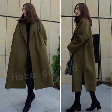 Womens Loose Lapel Wool Blend Winter Trench Coat Korean Outwear Long Sleeve Sz