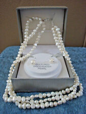 """White Fresh Water Pearl 3 strands Necklace 16"""" with Matching Earrings with Box"""