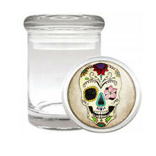 SUGAR SKULL D10 ODORLESS AIR TIGHT MEDICAL GLASS JAR CONTAINER DAY OF THE DEAD