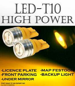 2 pairs T10 High Power Yellow LED Direct Replace Front Parking Light Lamps X501