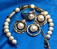 WOMANS ANTIQUE STERLING SILVER ISRAEL DIDAE REAL PEARL JEWELRY SET!!!