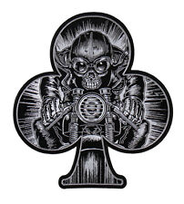 SKULL SPADE CAFE RACER EMBROIDERED 5 INCH IRON ON MC BIKER  PATCH