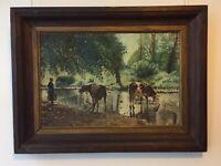 TABLEAU Huile s. carton Vaches Paysage très proche ! de ROSA BONHEUR (1822-1899)