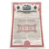 1962 Saint Louis - San Francisco Railway $100.00 Bond Certificate Decent S1