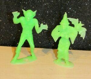 "Vintage  MPC Green Witch/Werewolf  Vintage 2.5"" 1960s Plastic Halloween Figures"