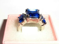 Womens White Gold Filled Blue 3 Stone Cubic Zirconia ring size 5
