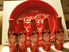 NEW Coca Cola Euro 2016 France 5 Empty Bottles and Aluminum Serving Tray
