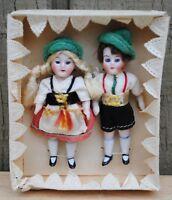 Antique German Miniature Dollhouse Doll Girl And Boy Original Box
