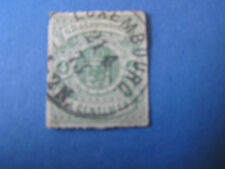 *LUXEMBOURG, SCOTT # 16, 4c. VALUE GREEN 1865 ROULETTED COAT OF ARMS ISSUE USED