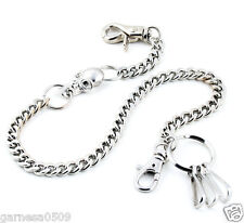 """DK Skull Pendant Basic Biker Trucker Key Jean Wallet Chain NCS97 (19"""") Silver"""