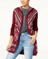 Hippe Rose Juniors' Long Hooded Cardigan Sweater. Sizes: Med., Large. Retail $49