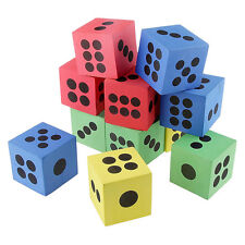"""12x SOFT COLOURFUL FOAM LARGE DICE Toy Game PARTY LOOT BAG FILLER 3.7cm 1.5""""."""