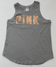 Victoria's Secret PINK Logo Rose Gold Bling Sequin Muscle Tank Tee M Grey