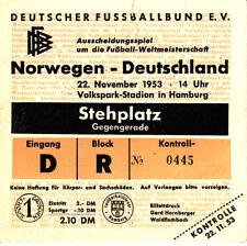 Ticket Länderspiel Deutschland - Norwegen 22.11.53 in Hamburg DFB
