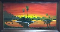 "🔥Smitty -""Sunset Everglades"" Florida Highwaymen Inspired, Oils on Board, Signed"