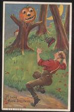 1909 Halloween Postcard Jack O'Lantern Scarecrow