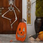 "Glitzhome 36""H LED Lighted Metal Pumpkin Porch Sign Halloween Wall Hanging Decor"