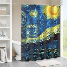 Van Gogh Art Beautiful Blue Yellow Unique Abstract Sky Fabric Shower Curtain