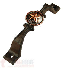 Copper Floral Star Rope Concho Drawer Pull Handle Door Cabinet Rustic Cast Iron