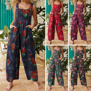 Women Jumpsuits Cotton Playsuits Wide Leg Overalls Bohemian Beach Floral Rompers