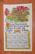 Vintage 1968 Calendar Tea Towel Calendar Bless this House
