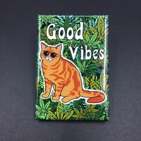 Orange Tabby Cat Cannabis Fridge Magnet 420 Marijuana Kitty Weed Kitchen Decor
