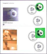 BRD 2000: DFB 100 Jahre! Zwei FDC mit Nr. 2091! Martken eckig und rund! 1706