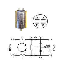 MAINS FILTER STUD MOUNTED Cx:0.47µF MKT X2  Cy:0.01µ