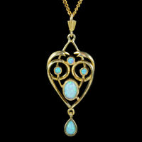 OPAL PENDANT NECKLACE 18CT GOLD ON STERLING SILVER