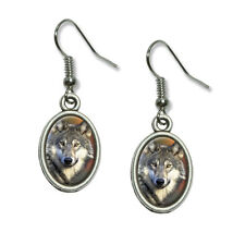 Gray Wolf with Fall Background - Novelty Dangling Drop Oval Charm Earrings
