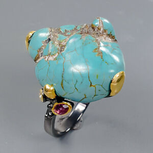 40 ct+ Rough Design gem Turquoise Ring Silver 925 Sterling  Size 7.75 /R175100