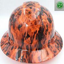 Hard Hat FULL BRIM custom hydro dipped , OSHA , WICKED FIRE HI VIS ORANGE WOW