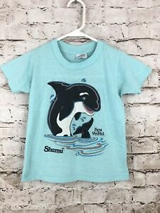 Seaworld Shamu Childs Top Small 6-8 Youth Blue Double Side Rare 1988 Vintage