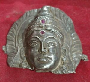 1800's Old Vintage Antique Silver Hand Craved Beautiful Hindu Goddess Face Head