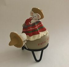 Hallmark Keepsake Ornament•Feliz Navidad•1996•2 Mice on Clay Pot•No Box•EUC