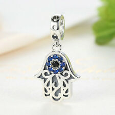 European Silver Hamsa Sterling 925 Hand Pendant Evil Eye Charm Lucky Jewelry