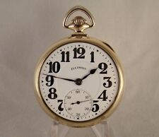 ILLINOIS SANGAMO SPECIAL 23j 14k GOLD FILLED OPEN FACE 16s RAILROAD POCKET WATCH