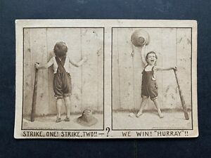 1911 ONA WV FANCY CANCEL ! BASEBALL COMIC POSTCARD ! WEST VIRGINIA ! SPORTS L@@K