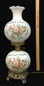 Lamp Light Glass Double Globe 3 Way Milk Glass Floral Ruffled Vintage Electric